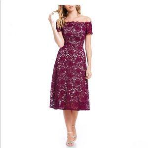 Lace Off The Shoulder Midi Dress